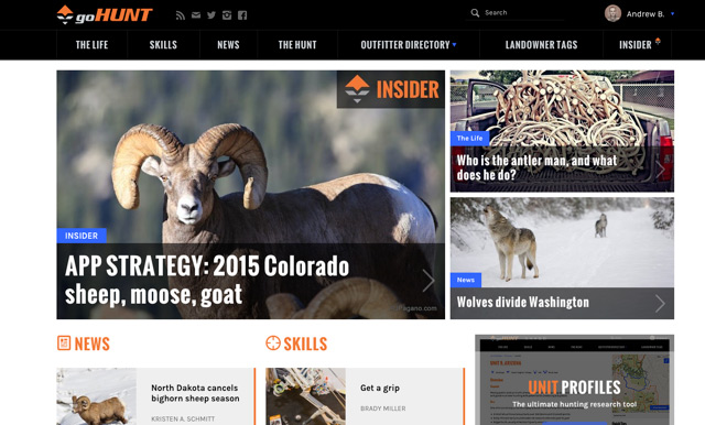 goHUNT website cover sheep shot