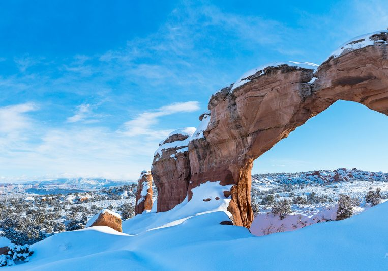 Broken Arch with snow in Arches National Park